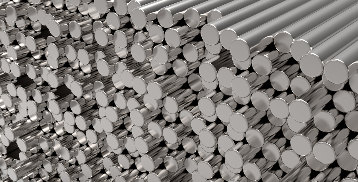 3d abstract  round metal bars